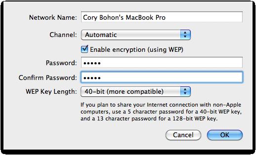 Condividere connessione wireless del mac
