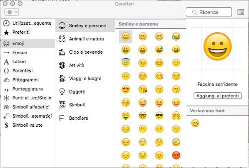 Mappa caratteri simboli e emoji