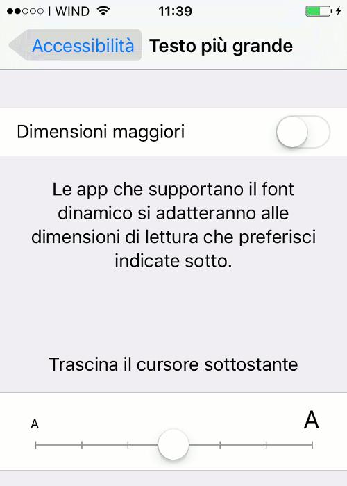Schermata per aumentare il testo su iphone