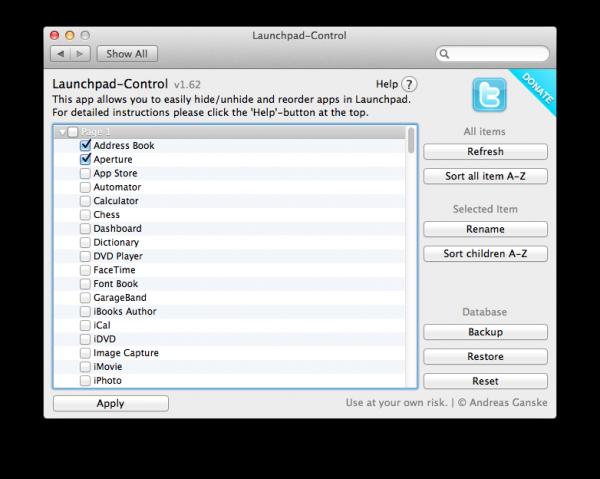 personalizzare lanchpad