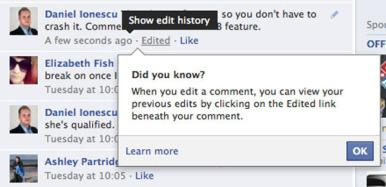 Facebook permette di modificare i commenti