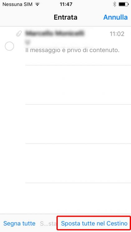 iPhone nuova funzione elimina tutte le email