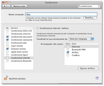 condividere connessione mac con iphone