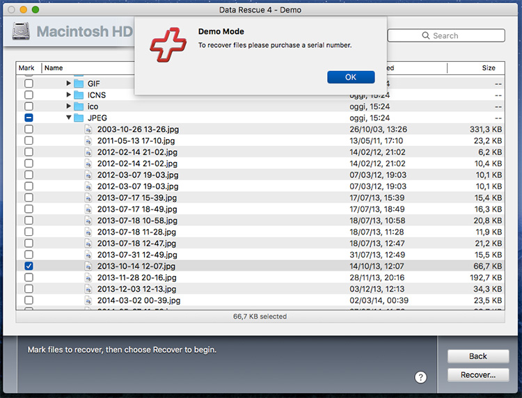 Recupero dati con data rescue 4 per Mac