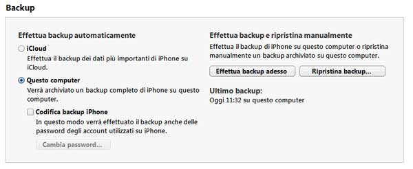 schermata itunes backup