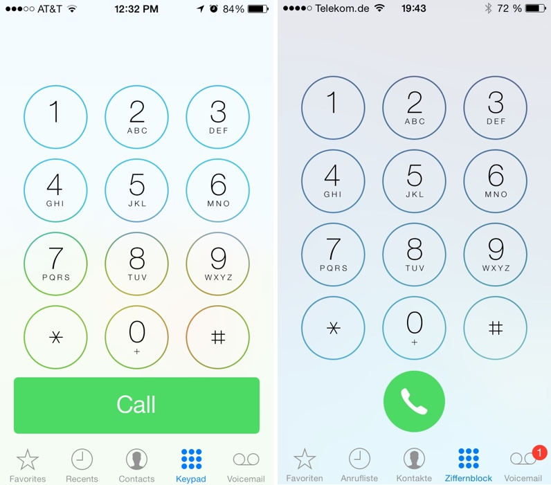 Schermata differenze tra ios 7 e ios 7.1