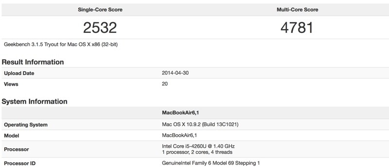 macbook air geekbench