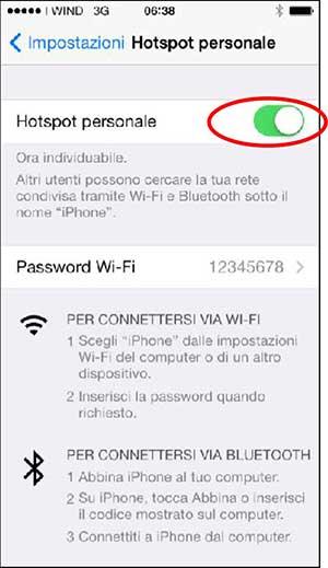impostare password hotspot personale