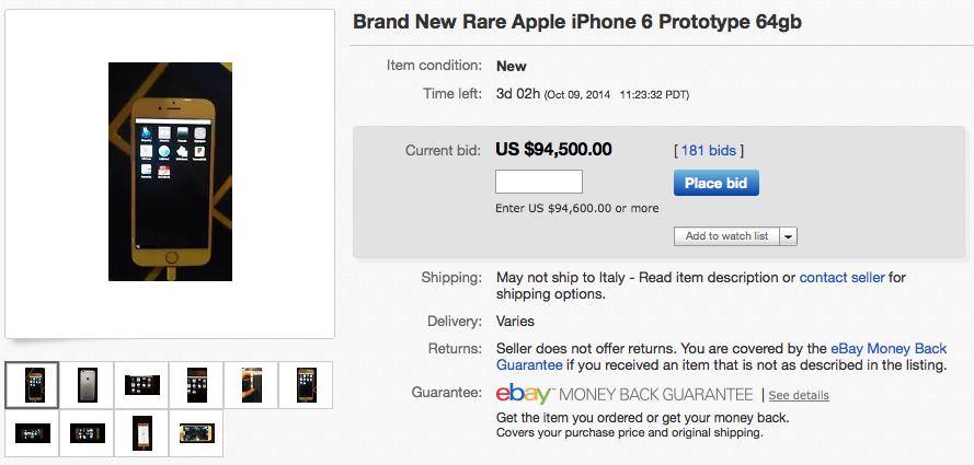 prototipo iphone 6 asta ebay