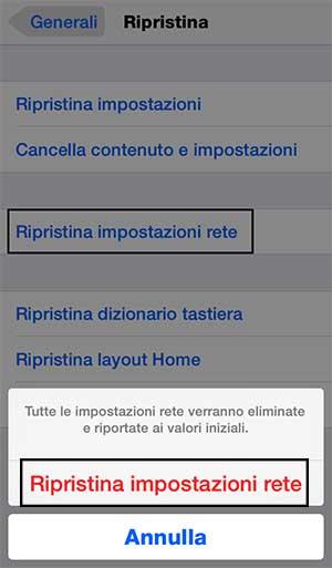 Reset impostazioni di rete iphone ipad