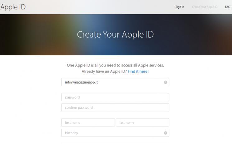 ID Apple la schermata di creazione
