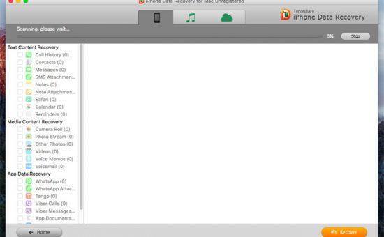 Tenorshare iPhone data recovery per Mac