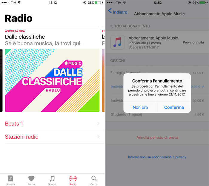 Apple Music Schermata Radio e abbonamento