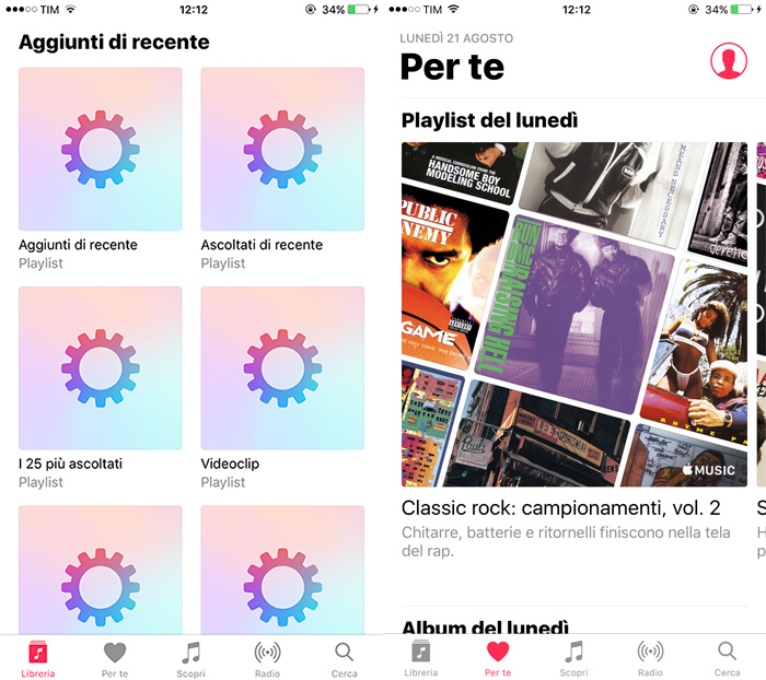 Apple Music - Schermata Libreria e Per Te