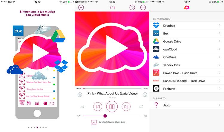Schermate App Cloud Music ascolta musica dal cloud