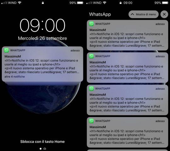 ios12 notifiche raggruppate di whatsApp